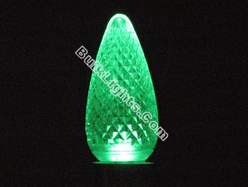 C9 Faceted Green LED Bulb - Click Image to Close